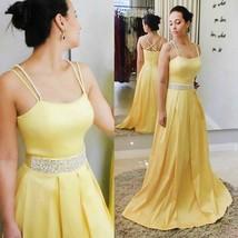 Yellow V Elegant Straps Mermaid Long Prom Dress with Slit Prom Dresses - $155.00