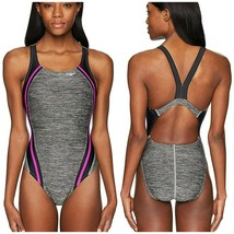 New Speedo Swimsuit One Piece Athletic Hydro Bra $78 Pink Quantum Splice... - $42.96