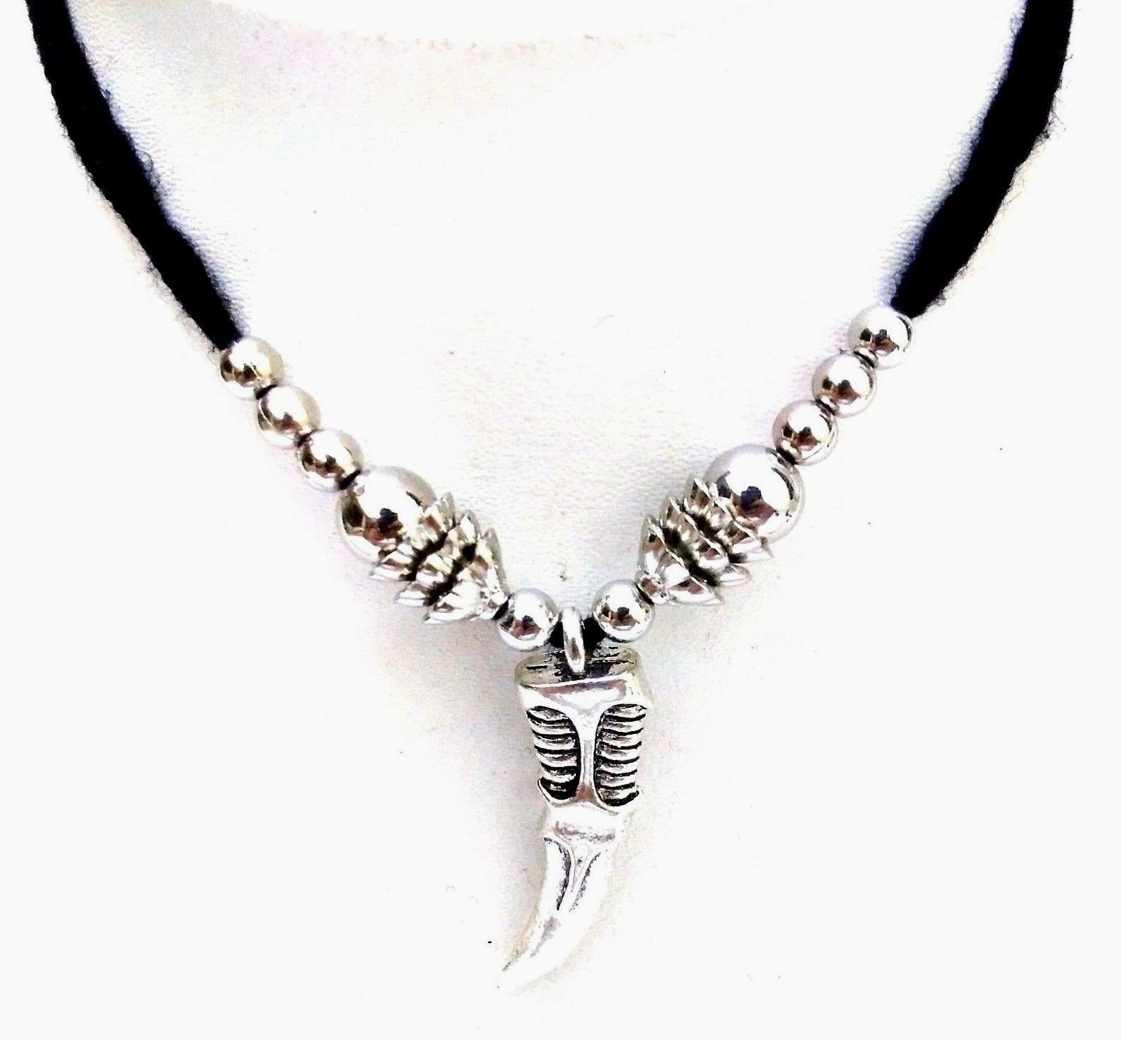 KNIFE Silver Oxidized Necklace Pendant Choker Collar Long String Jewelry 8-98