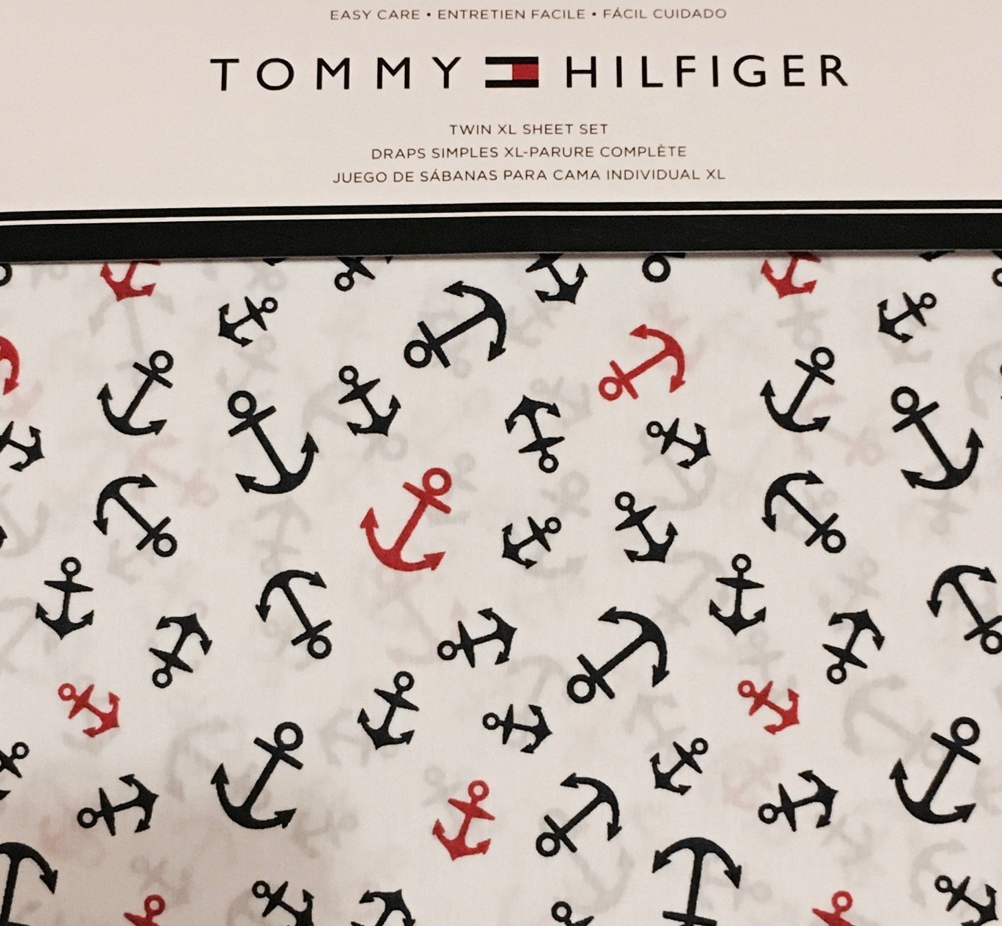 Tommy Hilfiger Navy Red Anchors on White Sheet Set Twin XL