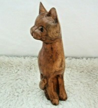 Cat Hand Crafted Wood Carved Sculpture Figurine Crazy Cat Lady Home Decor - $18.80