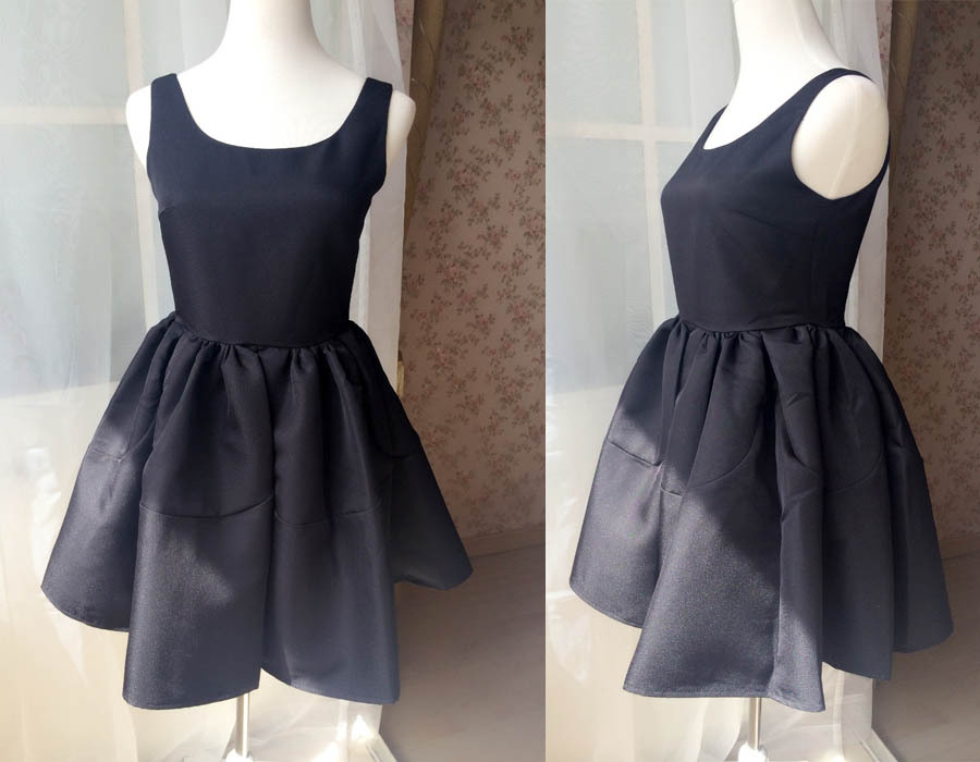 LITTLE BLACK DRESS Bubble Knee Length Sleeveless Princess Flare Party Dress