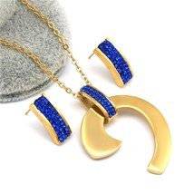 Black bule white zircon Earrings Necklace Sets Gold Color  stainless steel Jewel image 1