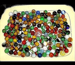 Group of 170 Marbles in Wine Glass with 1 Shooter AA18 - 1175M Vintage image 2