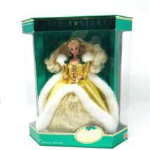 Happy Holidays Barbie 1994 Special Edition 12155 Gold White Mattel Doll Stand - $32.00