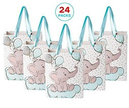 NPLUX 24 Packs Elephant Baby Gift Bag Baby Shower Goodie Bags Birthday Party Fav - $38.01