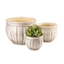 Ceramic Planter Trio Available in Antique Stone Color - $69.95