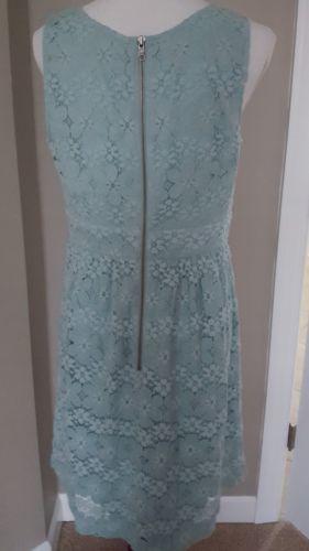 Ann Taylor Loft Dress Blue Floral Crochet Sleeveless Floral Size 12P NEW NWT $89