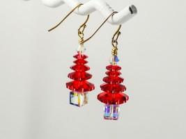Swarovski Red Christmas Tree Earrings/ 14k Gold / made w/ Swarovski elem... - $16.95+