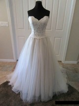 Moonlight Bridal Gown PB6411 Lace and Tulle Wedding Dress  Ivory Taupe S... - $266.41