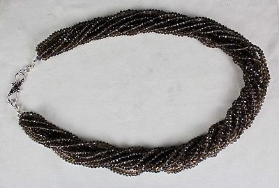 10 LINE 860 CTS NATURAL BLACK SMOKY QUARTZ FACETED ROUND BEADS LADIES NECKLACE
