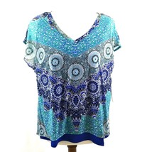 Dana Buchman Layered V Neck Top Large Petite Blue Teal Fans Lined Short ... - $23.75