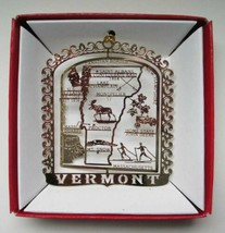 Vermont State Landmarks Brass Ornament Travel Souvenir - $13.95