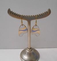 Vintage 1980's~Blue/White Enamel Cloisonne ~GP Hook Pierced Earrings - $12.50