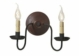 Rustic Countryside Double Candlesticks Ashford Wall Sconce in Plantation... - $128.95