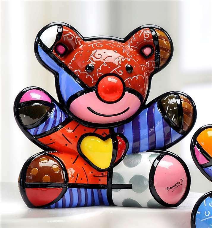 Romero Britto Happy Bear Design Figurine Rare Collectible