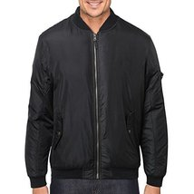 Men's Premium Lightweight Water Resistant Flight Bomber Jacket Black (XL)