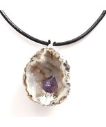 THIN BLACK REAL LEATHER CHOKER NECKLACE WITH GEODE PENDANT CRYSTAL AMETHYST - $31.52