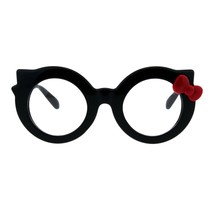 Black Round Cateye Clear Lens Glasses Ribbon Bow Womens Girly Eyeglasses - $10.95