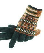 Green Autumn And Winter Man Lengthened Warm Knitted Wool Fluff Gloves - $25.40 CAD