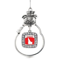 Inspired Silver Idaho Outline Classic Snowman Holiday Christmas Tree Ornament Wi - $14.69