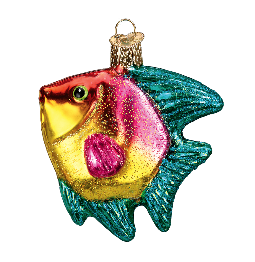 OLD WORLD CHRISTMAS TROPICAL ANGELFISH AQUARIUM PET CHRISTMAS ORNAMENT 12383 B