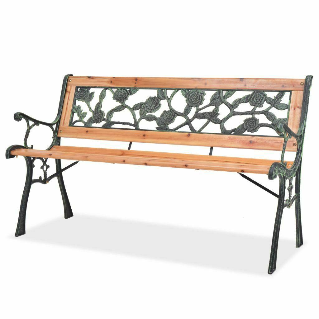 vidaXL Patio Wooden Garden Bench w/ Backrest Vintage Seat Diamond/Rose Design image 2