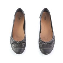 Clarks Bendables Black Leather Bow Ballet Flats Casual Slip On Shoes Wom... - $29.53