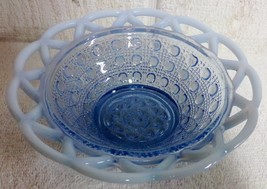 """Imperial Glass Laced Edge Blue Opalescent 6"""" Belled Nappy Bowl Sugar Cane - $17.99"""