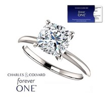 14KGold 1.10 Carat (6mm) Cushion Moissanite Forever One Ring (Charles & ... - $599.00