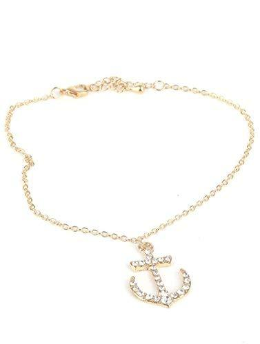 scarlettsbags Rhinestone Anchor Charm Anklet 9 1/2 Inches Ankle Bracelet (Goldto
