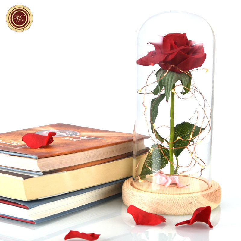WR Beauty and The Beast Red Rose Glass Dome LED Light Wooden Base Lady Girl Gift image 2