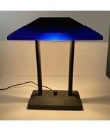 Vintage Memphis Bankers Desk Lamp Cobalt Blue Glass Underwriters Laborat... - $247.49