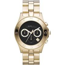 Marc Jacobs MBM3309 Women's Black Dial Watch Blade  Gold-Tone Chronograph - $175.00