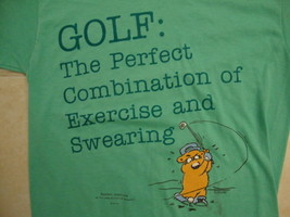 Vintage Golf Exercise And Swearing Mad Bear Greeting Card Sports T Shirt S - $14.84