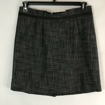 Merona Skirt Size 12 Pleated Above Knee Black Gray Lined Stretch Career  - $13.07