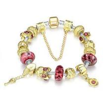 Gold & Milk Ruby Pandora Inspired Bracelet - $27.54