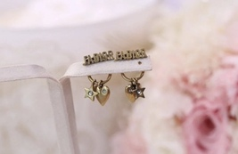 AUTH Christian Dior 2019 J'ADIOR HEART Crystal Star Dangle Earrings Gold