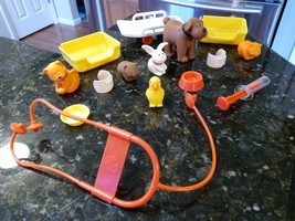 Vintage Playskool Traveling Pet Hospital Playset 1976 Accessories Parts Only Lot - $49.95