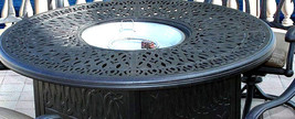 "Propane Fire Pit Set Elisabeth 52"" Round Table Flamingo Chairs Swivels Bronze image 2"