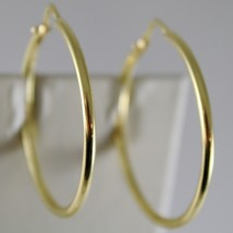 18K YELLOW GOLD EARRINGS CIRCLE HOOP 28 MM 1.10 INCHES DIAMETER MADE IN ITALY image 1