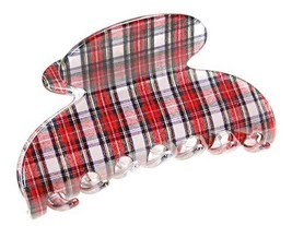 France Luxe Couture Jaw - Tartan Plaid Red/White