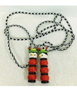 Old Jump Rope Wood Handles Red Bugs w Hats Blk & White Rope T28 - $14.36