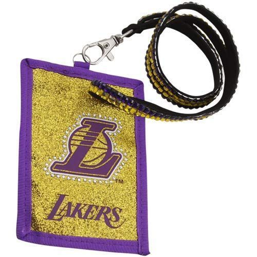 LOS ANGELES LAKERS BEADED RHINESTONE LANYARD ID CREDIT CARD ZIPPER POCKET WALLET