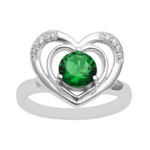 Green Cubic Zirconia Double Heart Valentine Day Ring Women Wedding Band - $11.68
