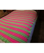 Vintage Handmade Groovy Neon Pink Green Pure Wool Afghan Throw Blanket C... - $50.00
