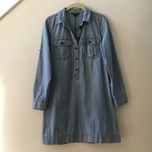 J Crew Classic Factory Chambray Blue Cotton Shirt Dress Size XS - $28.71