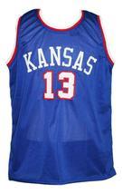 Wilt Chamberlain #13 Custom College Basketball Jersey New Sewn Blue Any Size image 4