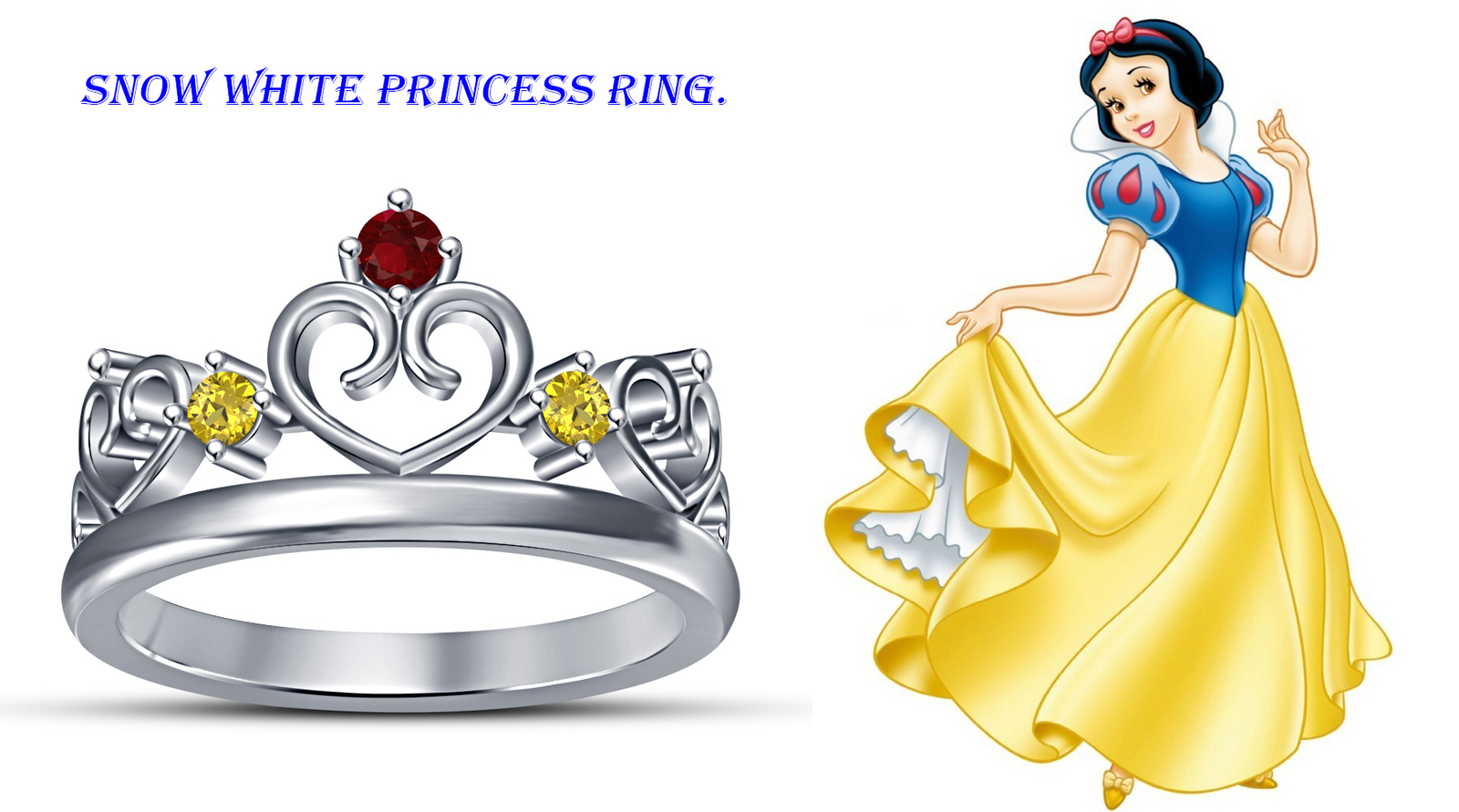 Primary image for Disney Princess Crown Wedding Ring Round Cut Multi Stone 14k White GP 925 Silver