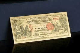 "<GEM>1875""GOLD""$5 DOLLARS Rep* Banknote W/COA~100+Yr. OLD STYLE Note~US SE - $11.98"